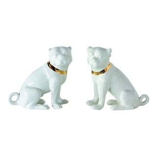 Port 68 White Porcelain Pug Statuettes - a Pair For Sale