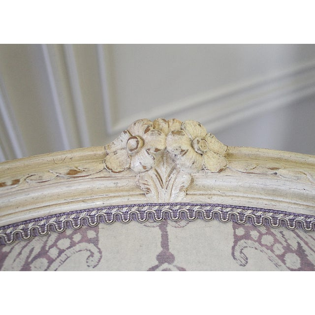 Fabric Vintage 20th Century Painted French Louis XV Style Bergere Chairs- A Pair For Sale - Image 7 of 13