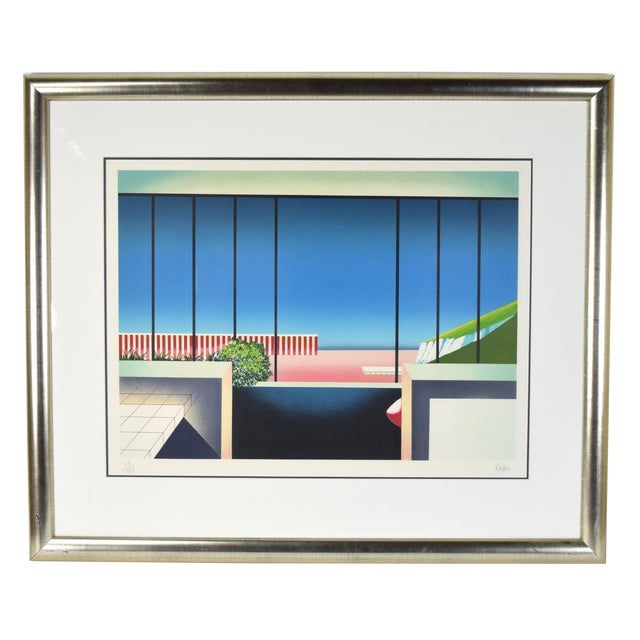 """Vintage 1980's """"Mezzanine"""" Limited Edition Architectural Lithograph by Teddy Radko For Sale"""