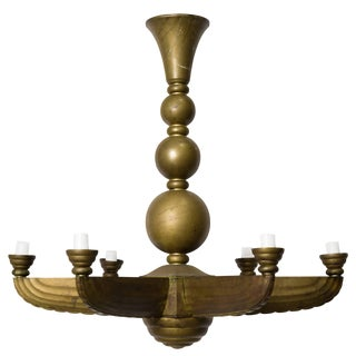 French Deco Bronze Chandelier For Sale