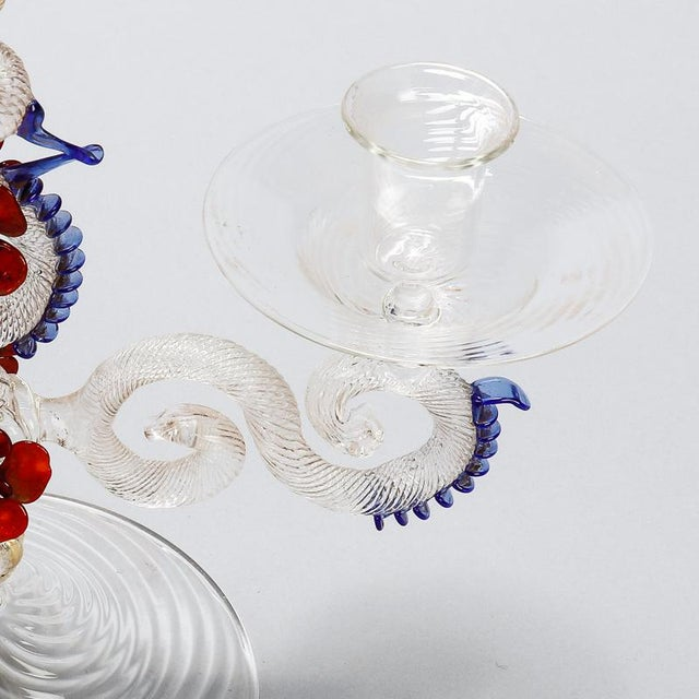 Two Light Venetian Glass Hand Blown Candlesticks - a Pair For Sale - Image 10 of 11