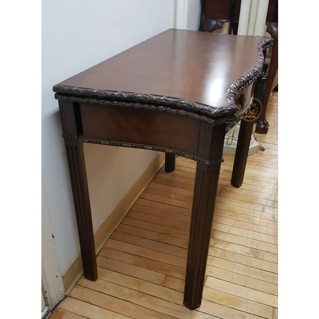 Hollywood Regency Maitland Smith Mahogany Flip Top Game Table For Sale - Image 3 of 9