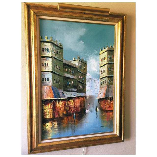 Vintage Cityscape Oil on Canvas by Jenner For Sale In Chicago - Image 6 of 7