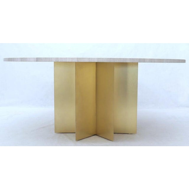 """72"""" Diameter 1"""" Travertine Marble-Top Round Dining Conference Table Star Base For Sale In New York - Image 6 of 13"""