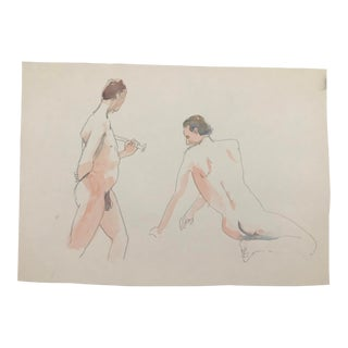 Male Nudes, Studio Watercolor by Myra Kyle 1980s For Sale