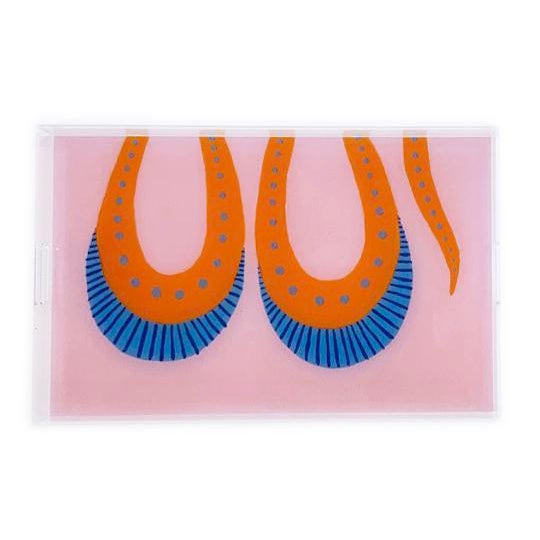 Transitional Razzle the Snake by Willa Heart Trays - a Pair For Sale - Image 3 of 4