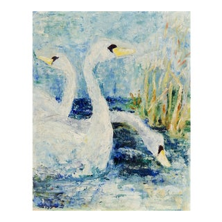 1970s Swans in Blue Oil on Canvas Painting