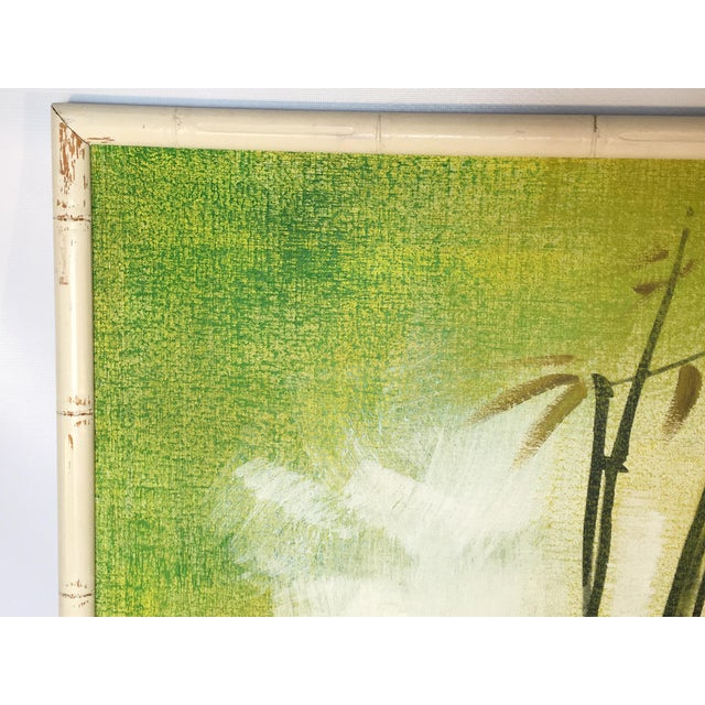 Canvas Large Framed Wing Lee Mid-Century Asian Bamboo Painting For Sale - Image 7 of 7