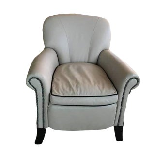 Leathercraft Cream/Tan Leather Accent Chair For Sale