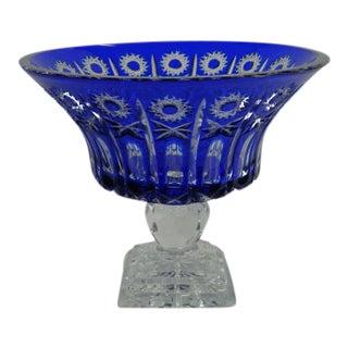 1970s European Import Hand Cut Cobalt Blue Crystal Bowl For Sale