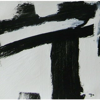 Jose Trujillo Acrylic Painting Black & White Abstract Art Square For Sale