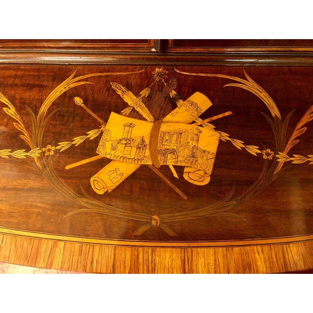 19th-Early 20th Century Edwardian Adams Inlaid Secretary Bookcase For Sale In New York - Image 6 of 11