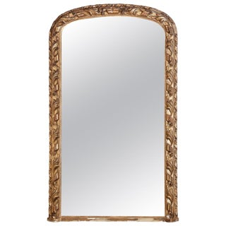 Antique French Hand Carved Gilt Louis Philippe Mirror With Ribbon & Leaf Detail For Sale