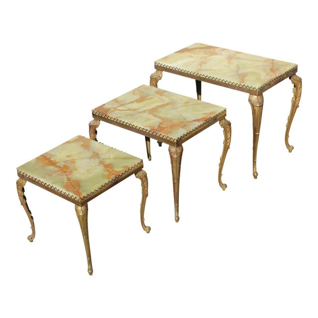 1940s French Maison Jansen Bronze Onyx Top Nesting Tables - Set of 3 For Sale - Image 12 of 13