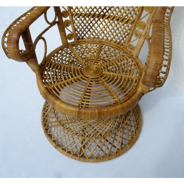 Final Markdown: C1970s Vintage Bohemian Eclectic Boho Chic Rattan Raw Wicker Peacock Chair For Sale - Image 11 of 13