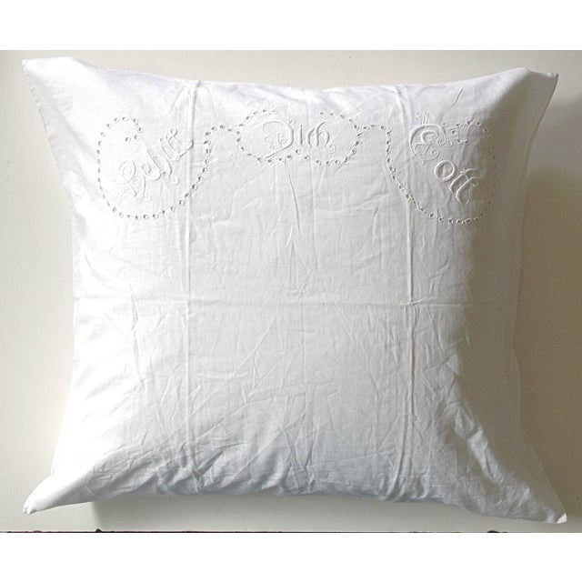 Offered is a soft cotton European pillow sham with a beautifully embroidered blessing in German on the top. The back...