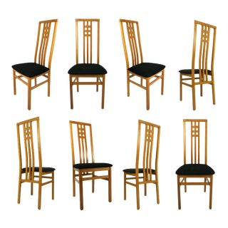 High Back Frank Lloyd Wright Style Modern Italian Cherry Dining Chairs For Sale