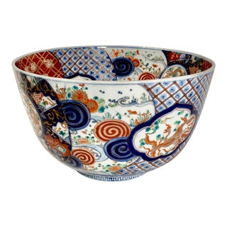 1920s Japanese Imari Porcelain Centerpiece Bowl For Sale
