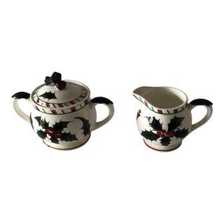 Holiday Sugar and Creamer Petite Vintage Ceramic Set For Sale