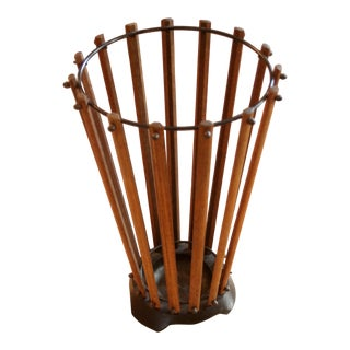 1960s Teak Wood Umbrella Stand For Sale