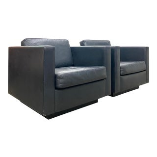 Beautiful Black Leather Club Chairs by George Kasparian - a Pair For Sale