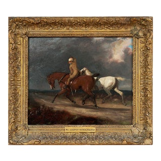 """Horse Portrait Early 19th Century """"A Replacement Horse"""" Charles Cooper Henderson Oil on Wood Panel For Sale"""
