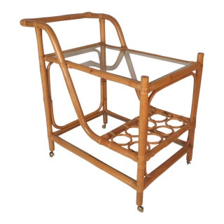Mid-Century Modern Bamboo and Glass Bar Cart For Sale