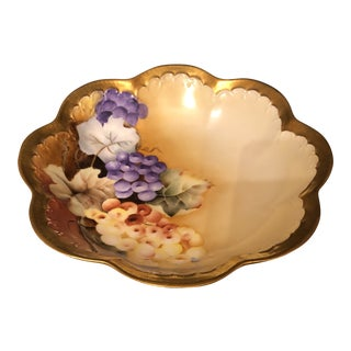 Jean Pouyat Limoges Scalloped Bowl With Grapes For Sale