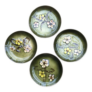 Bovano Mid Century Enameled Coasters - Set of 4 For Sale