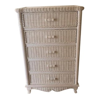 Mid Century Modern Vintage Five Drawer Wicker Rattan Chiffonier, Henry Link Style. For Sale