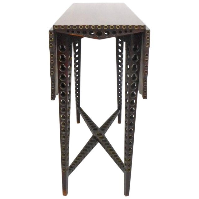 Traditional Early 20th Century Drop-Leaf Wood and Brass-Grommet Table For Sale - Image 3 of 7
