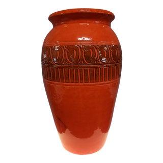 1960s Vintage Orange West German Vase For Sale