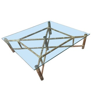 John McGuire Bamboo & Glass Square Coffee Table For Sale
