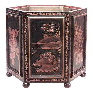 English Recency Chinoiserie Black Lacquered Pot For Sale