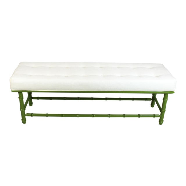 Mid Century Faux Bamboo Green Bench For Sale