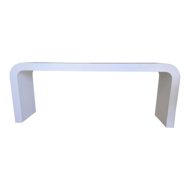 Minimalist White Plaster Waterfall Console Table For Sale
