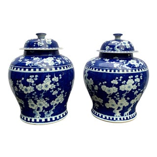 Late 20th Century Large Chinese Blue & White Plum Blossom Prunus Ginger Jars - a Pair For Sale