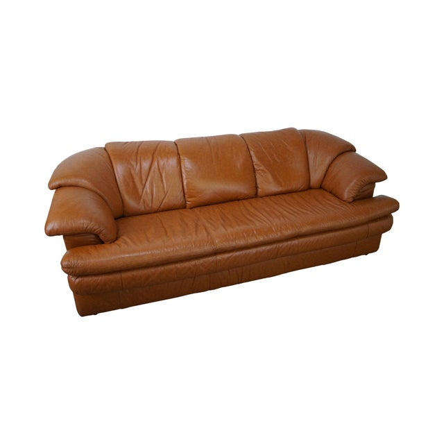 Natuzzi Vintage Caramel Color Leather Sofa - Image 1 of 10