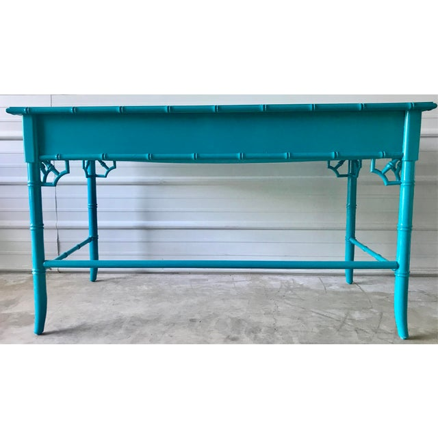 Boho Chic Thomasville Lacquered Faux Bamboo Desk For Sale - Image 3 of 10