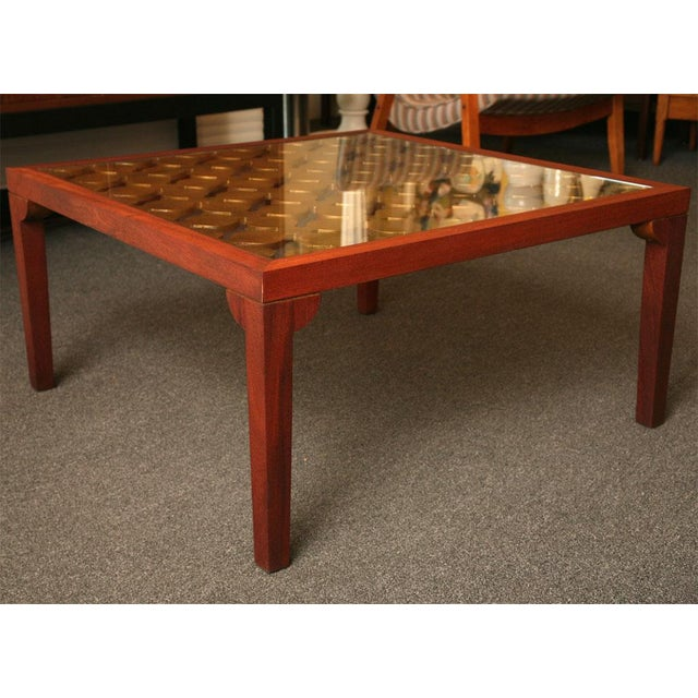 Parzinger Style Classy 50's Mahogany & Giltwood Grille Coffee Table - Image 7 of 13