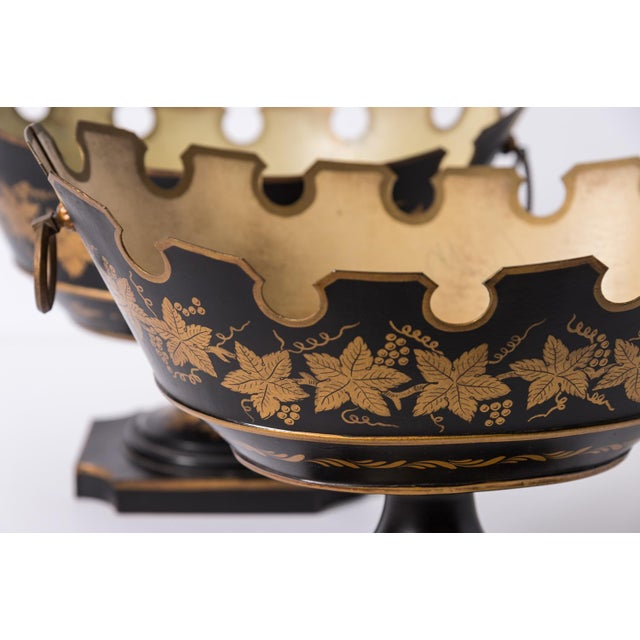 Black Rare Neoclassical French Tole Glass Cooler/Monteith Bowls - a Pair For Sale - Image 8 of 10