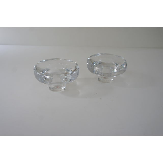 A pair of mid-century modern vintage Dansk glass candle holders. Made of heavy full lead crystal. Innovative design that...