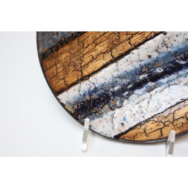 Modernist Blue, White and Gold Enamel on Copper Dish For Sale In New York - Image 6 of 10