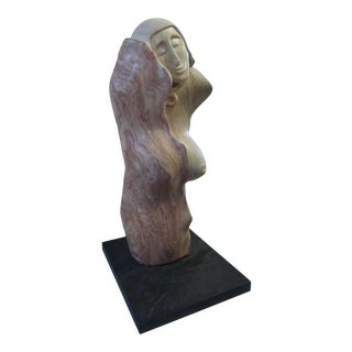 Signed Female Marble Sculpture For Sale