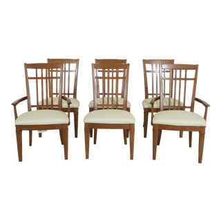 Set of 6 Thomasville Cherry Arts & Crafts Dining Room Chairs For Sale