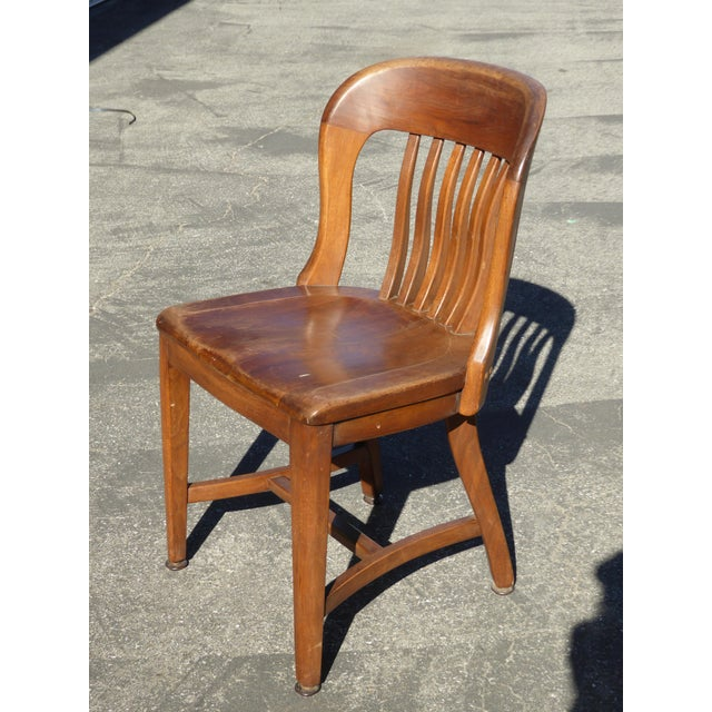 Set of 4 Vintage Mid-Century Brown Solid Wood Farmhouse Chic Library School House Chairs - Image 6 of 11