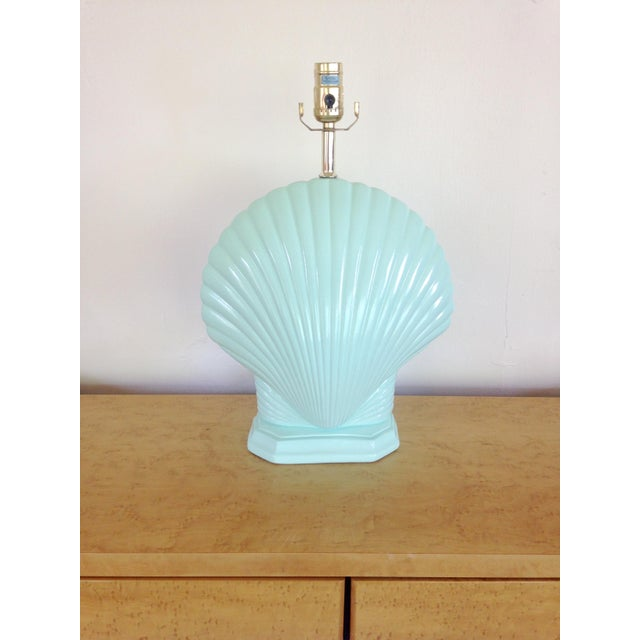 Hollywood Regency Light Aqua Clam Shell Table Lamps - a Pair For Sale - Image 3 of 6