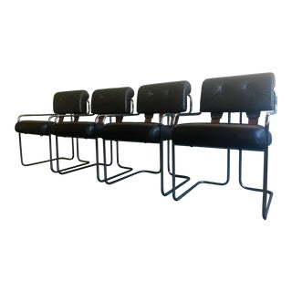 1970s Vintage Pace Collection Chrome Cantilever Leather Chairs - Set of 4 For Sale