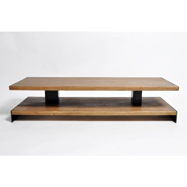 Contemporary Modern Oak Wood Coffee Table With Metal Trim For Sale - Image 3 of 10