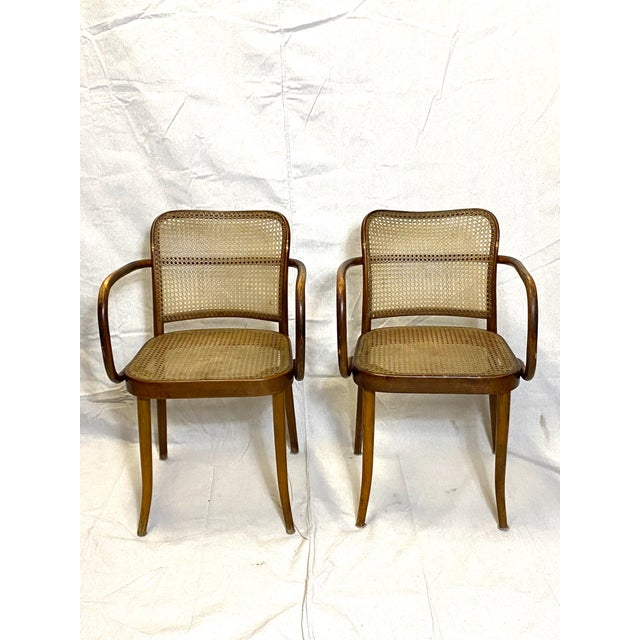 Brown Rare Antique Stendig Set of 4 Bentwood French Stitched Nylon Cane Wood Dining Chairs For Sale - Image 8 of 13